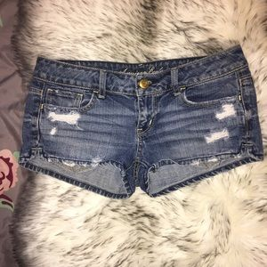 American Eagle Distressed Denim Blue Jean Shorts 2